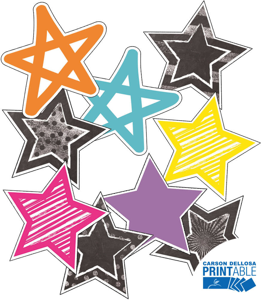 Twinkle Twinkle You're A STAR! Rainbow Star - 5in Printable Cut-Outs Product Image