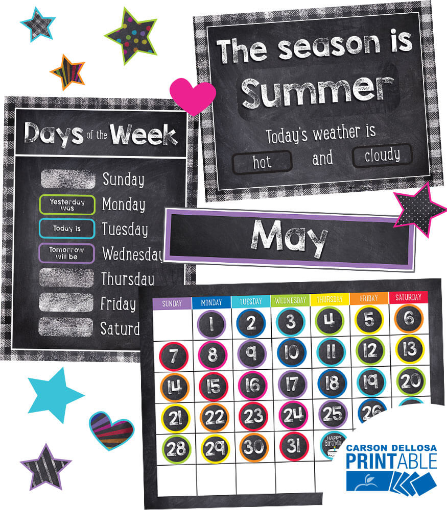 Twinkle Twinkle You're A STAR! Calendar Printable Bulletin Board Set Product Image