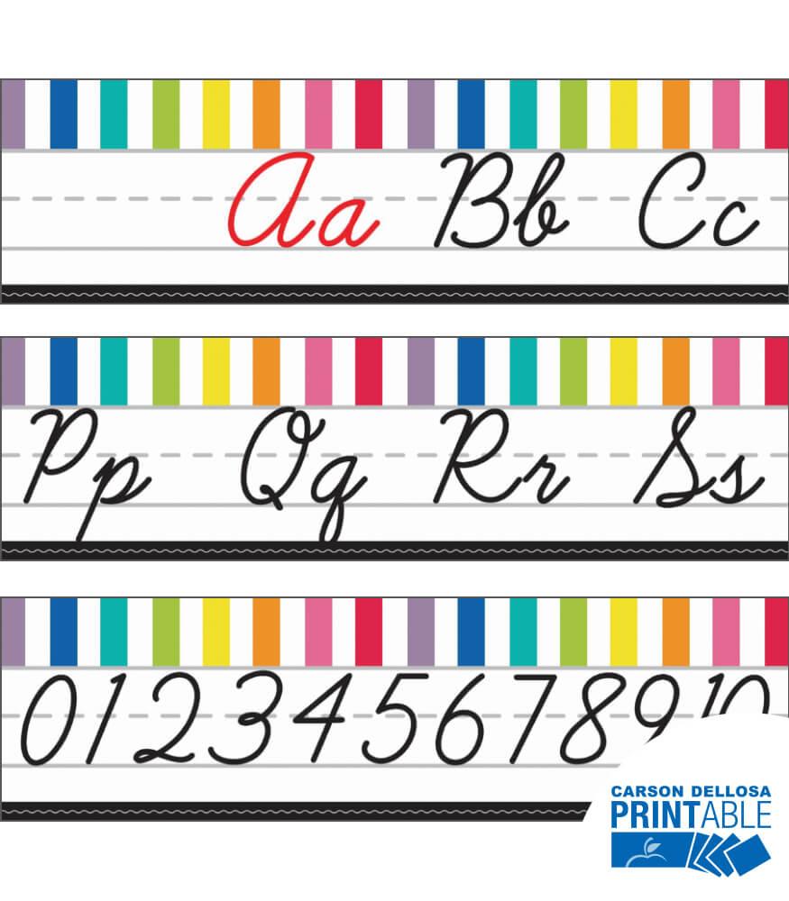 Just Teach Cursive Alphabet Line Printable Bulletin Board Set Product Image