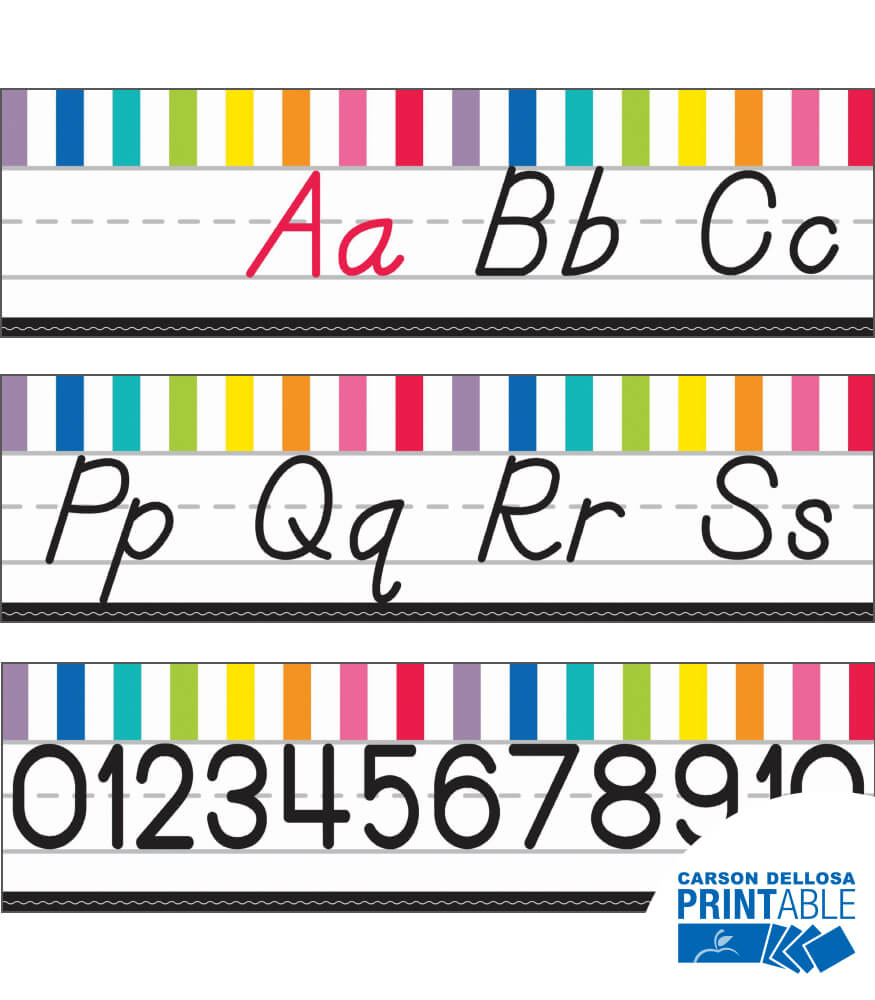 Just Teach D'Nealian Alphabet Line Printable Bulletin Board Set Product Image
