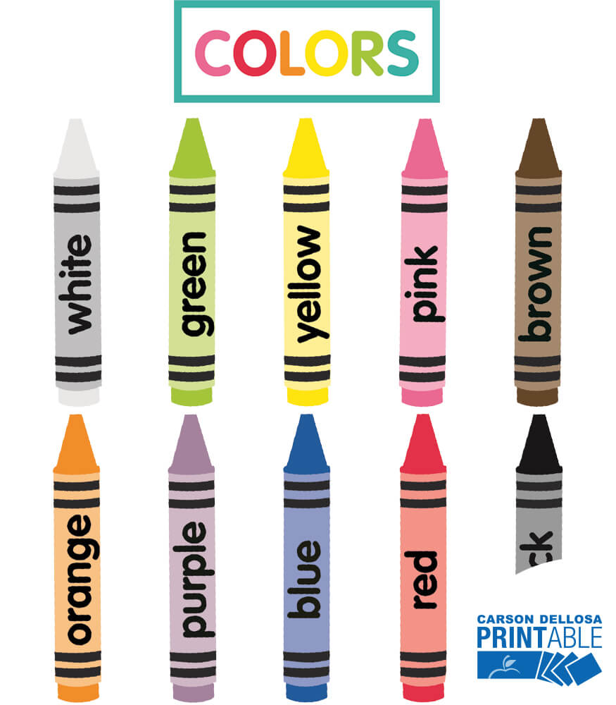 Just Teach Crayon Colors Printable Cut-Outs