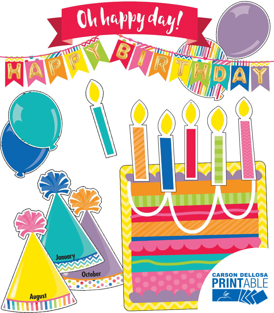 Just Teach Birthday (Print Shop) Printable Bulletin Board Set Product Image