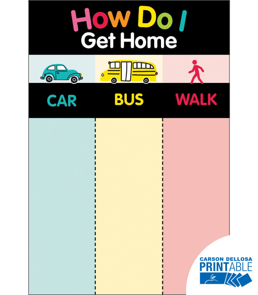 Just Teach How Do I Get Home? Printable Chart Product Image