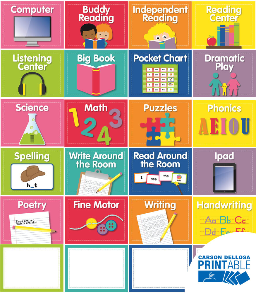 Just Teach Center Cards Printable Labels & Organizers Product Image