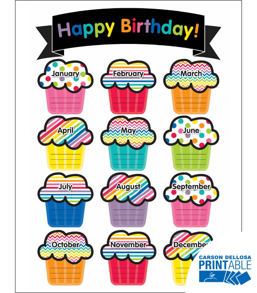 Just Teach Birthday Printable Chart Product Image