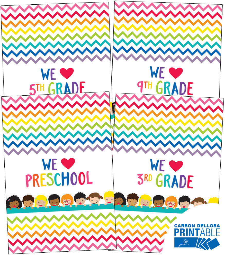 Just Teach We Heart Printable Chart Set Product Image
