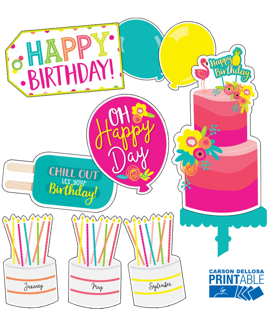 Just Teach Birthday (Home Printer) Printable Bulletin Board Set Product Image