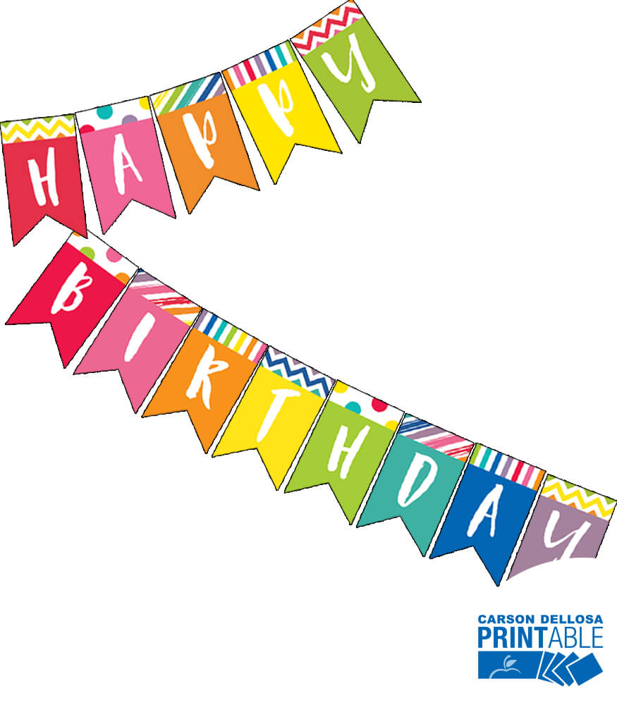 Just Teach Happy Birthday Printable Pennants Product Image