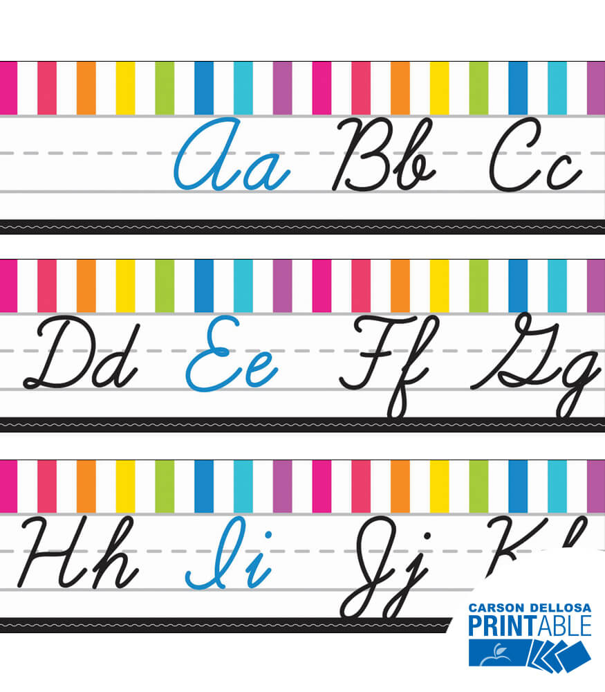 just teach neon cursive alphabet line printable bulletin board set