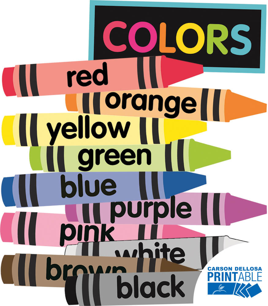 Just Teach NEON Crayon Colors Printable Cut-Outs
