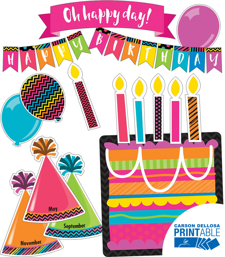 Just Teach NEON Birthday (Print Shop) Printable Bulletin Board Set Product Image