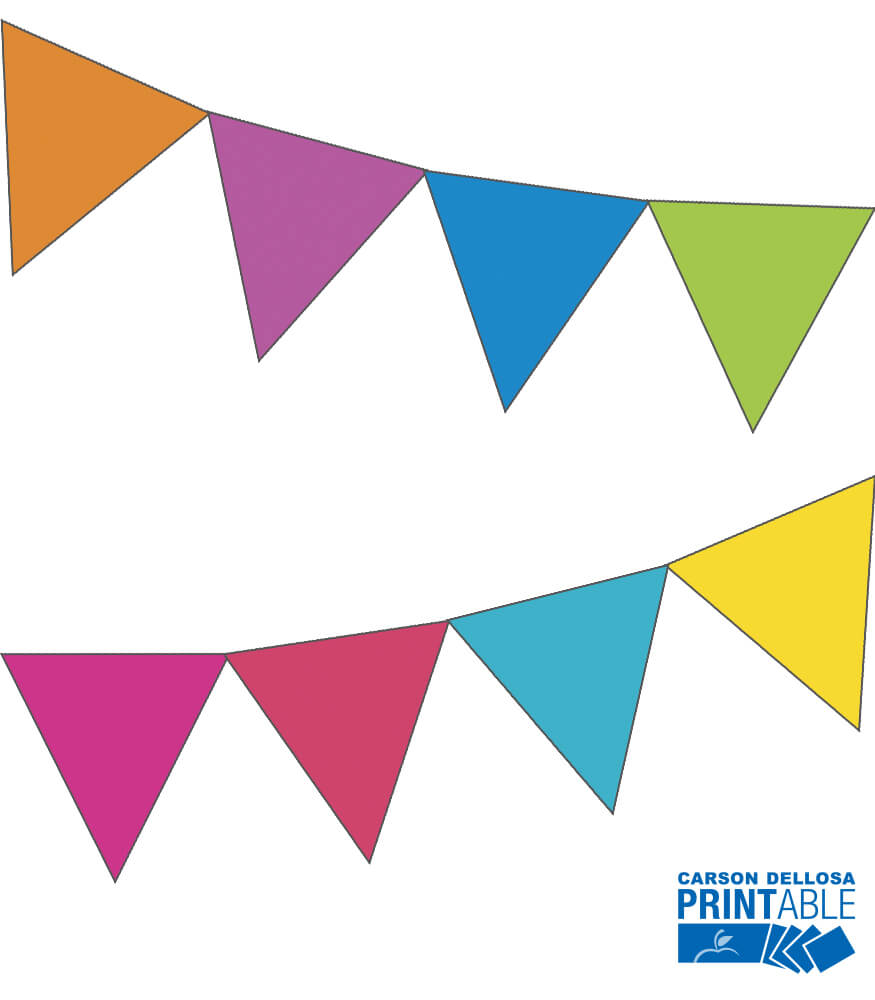 Just Teach Rainbow NEON Solid Printable Pennants Product Image