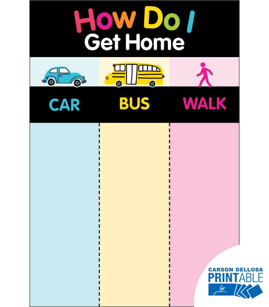 Just Teach NEON How Do I Get Home? Printable Chart Product Image