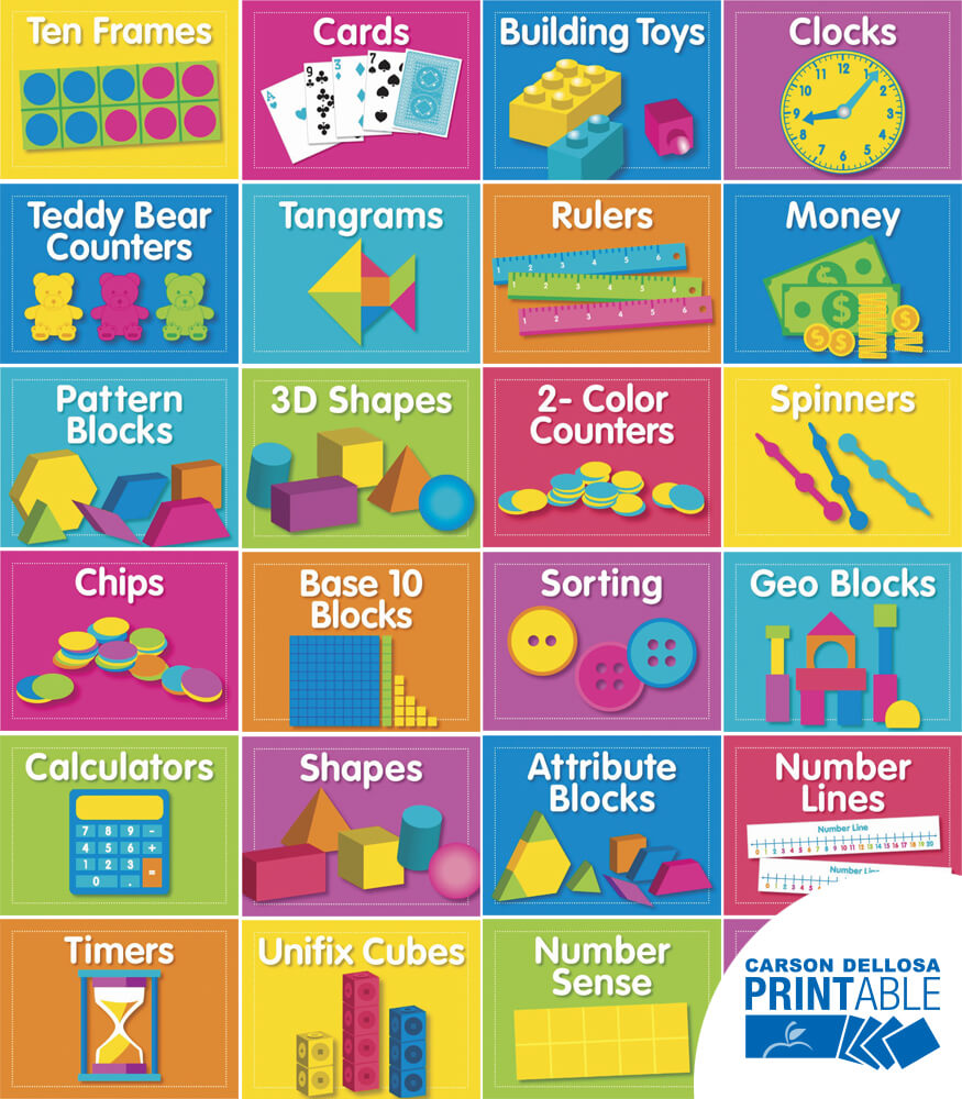 Just Teach NEON Math Supply Printable Labels & Organizers Product Image