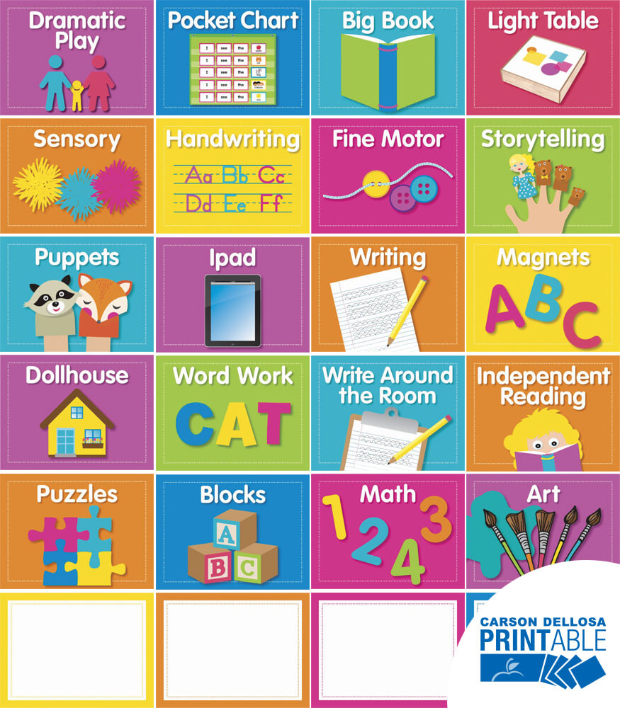 Just Teach NEON Center Cards Printable Labels & Organizers Product Image