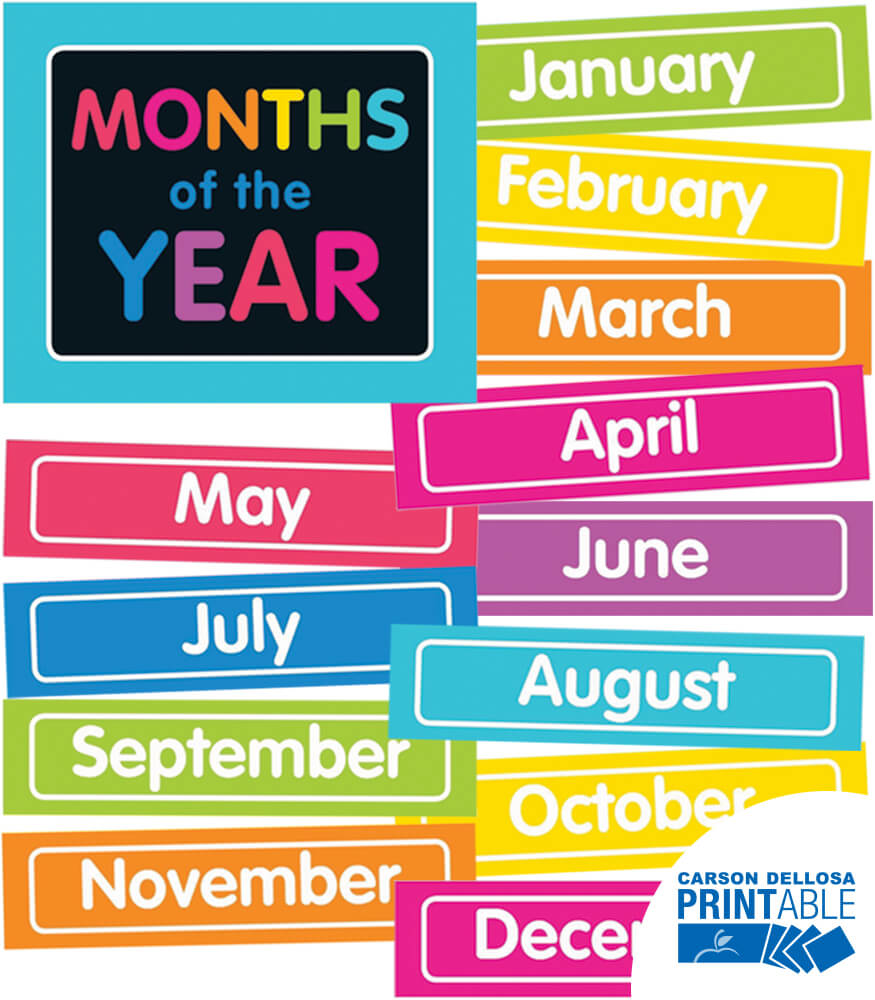 Just Teach Neon Month Printable Chart Set Grade Pk 2