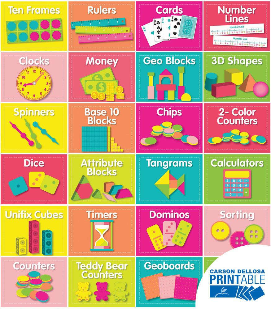 Just Teach Math Supply Printable Labels & Organizers Product Image