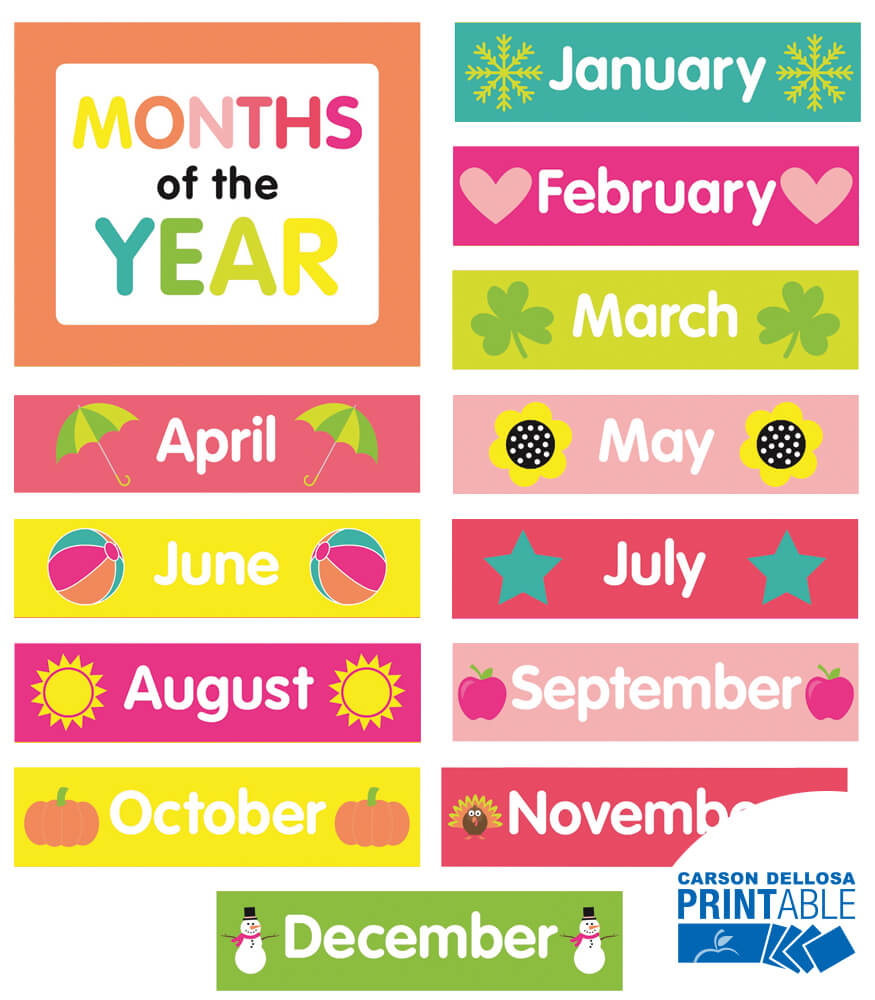 Fabulous image intended for printable months of the year for preschool