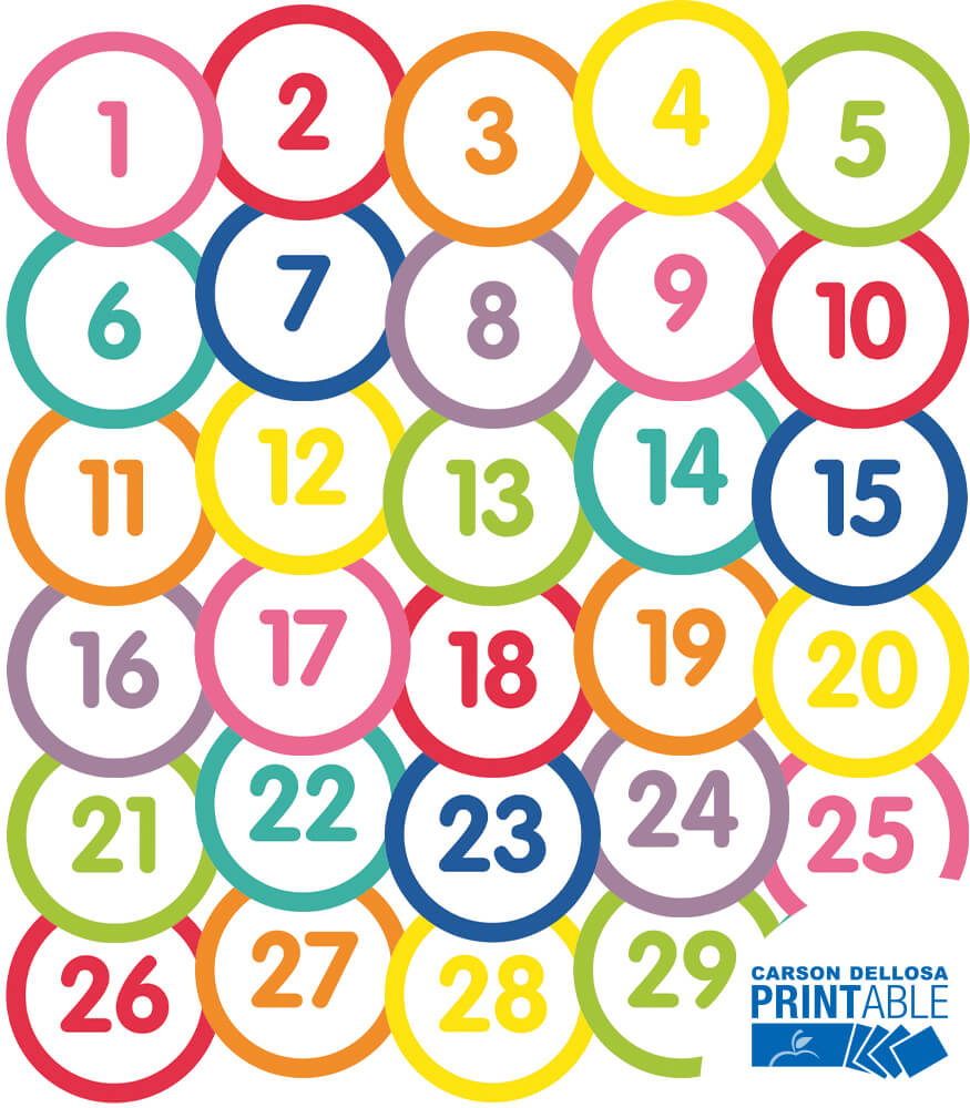 Just Teach Number Circles 1-30 White Printable Bulletin Board Set Product Image