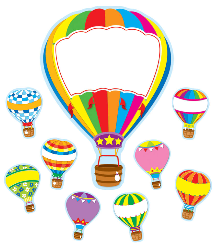 Classroom Decor Set Free : Hot air balloons bulletin board set grade pk carson