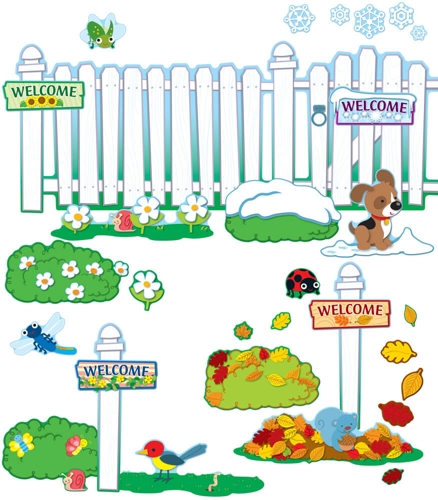 Seasonal Fence Bulletin Board Set Product Image