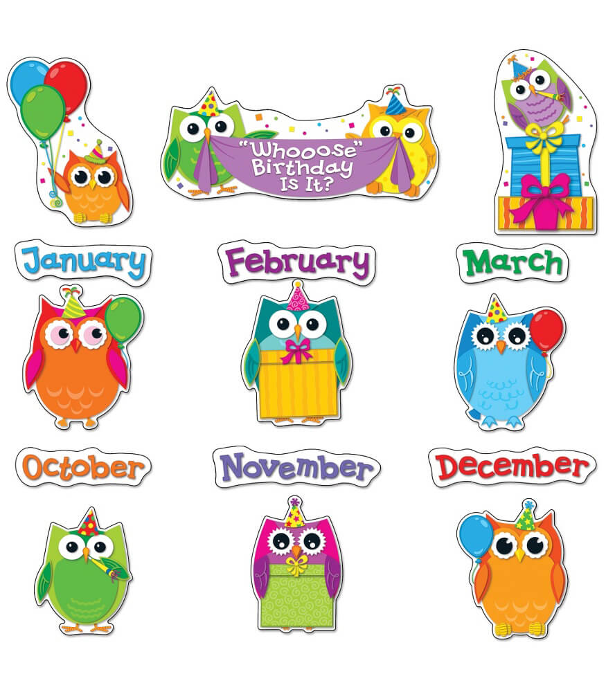 Birthday Calendar In Kindergarten : Colorful owls birthday bulletin board set