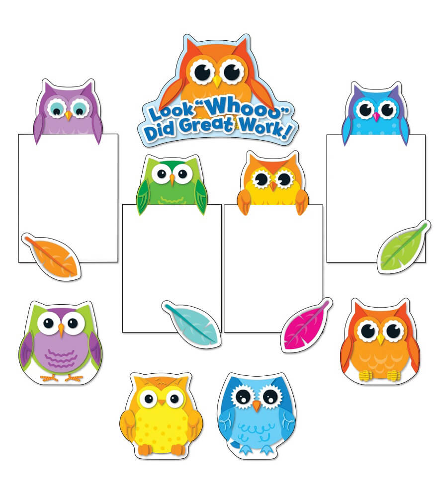 Colorful Owls Good Work Bulletin Board Set Product Image