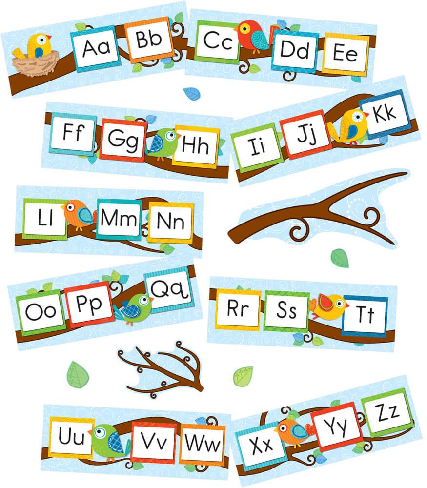Boho Birds Alphabet Bulletin Board Set Product Image