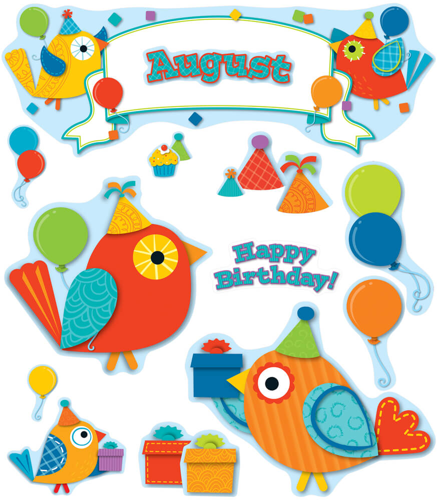 Boho Birds Birthday Bulletin Board Set Product Image