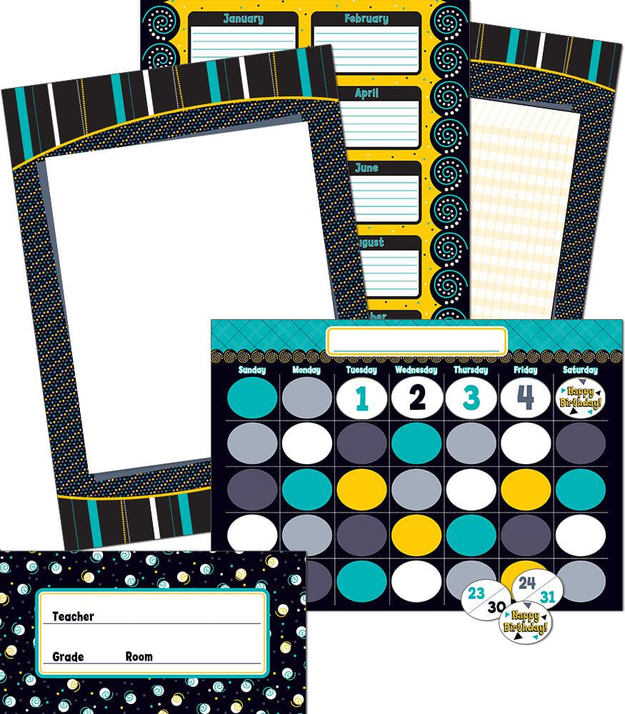 Black, White & Bold Bulletin Board Set Product Image