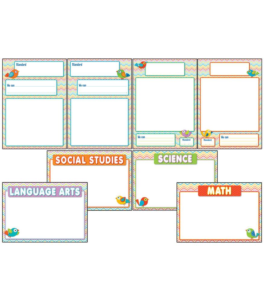 Chevron Common Core Charts Bulletin Board Set Product Image