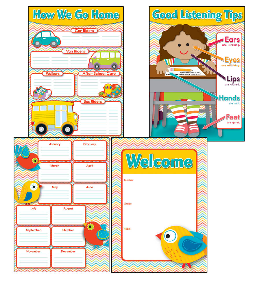 Modern Concept Of Classroom Management : Chevron classroom management bulletin board set grade k