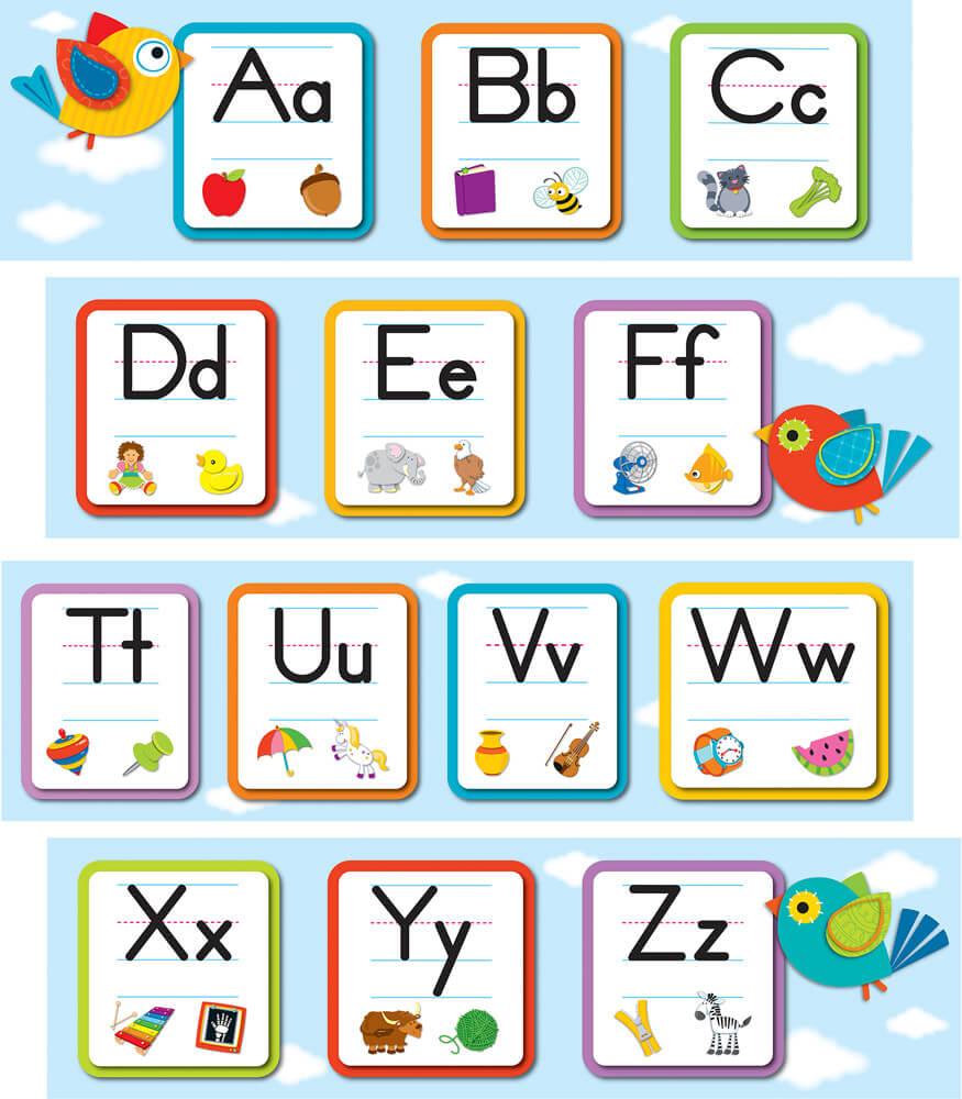Boho Birds Alphabet Mini Bulletin Board Set Product Image