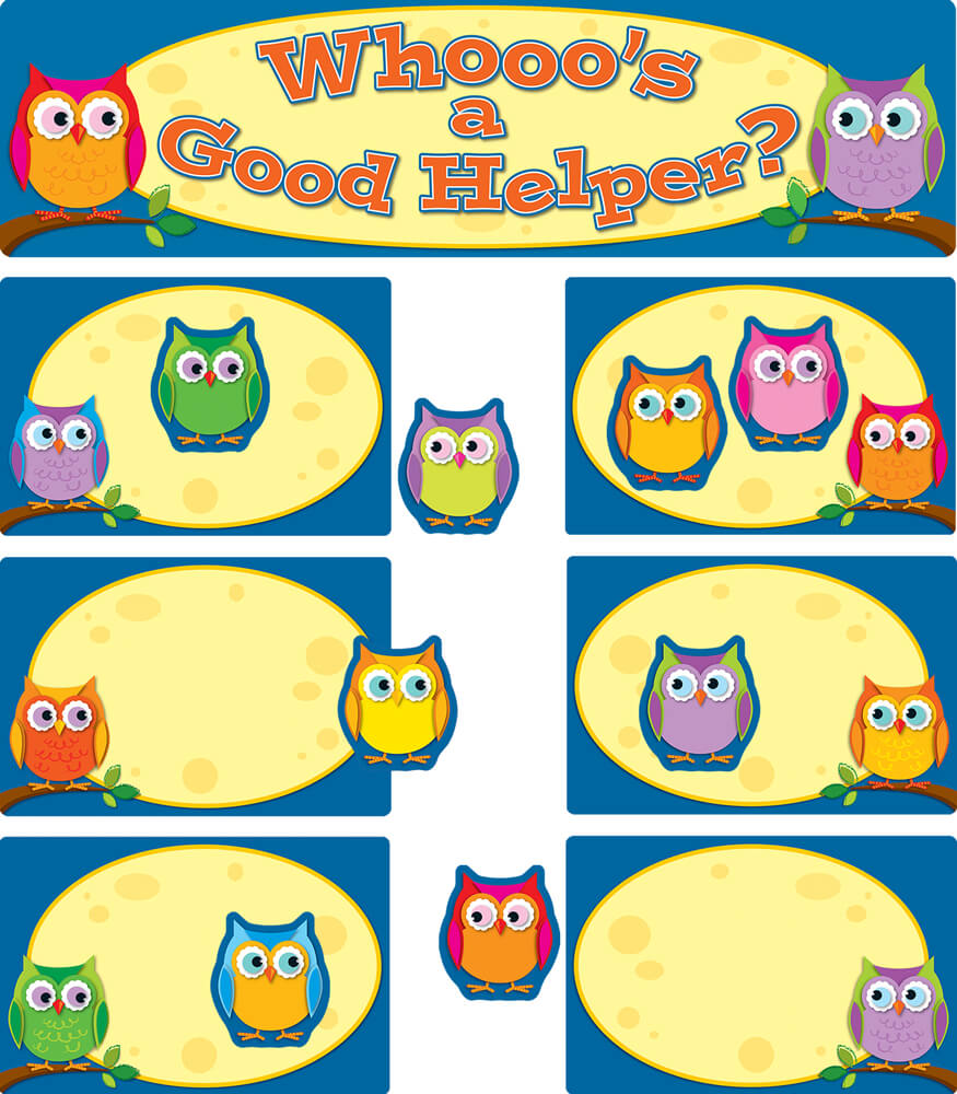 Classroom Cleaners Design ~ Colorful owls job assignment mini bulletin board set
