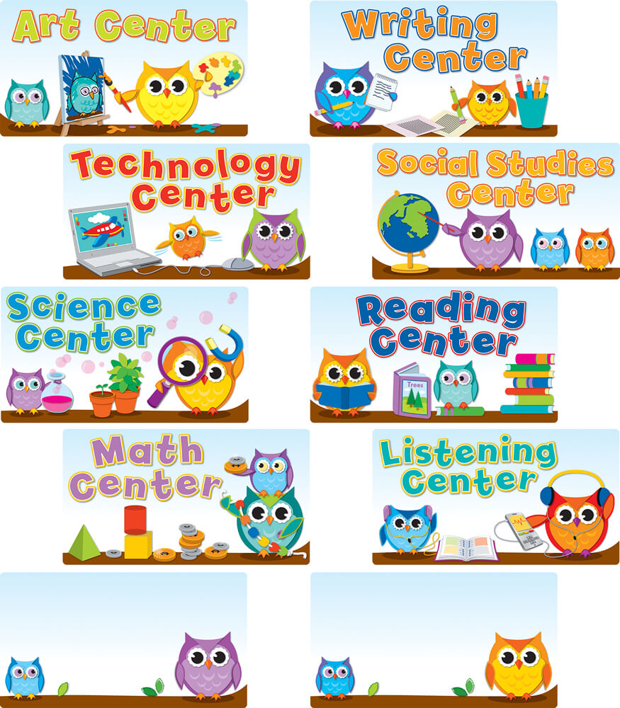 Colorful Owls Center Signs Mini Bulletin Board Set Product Image