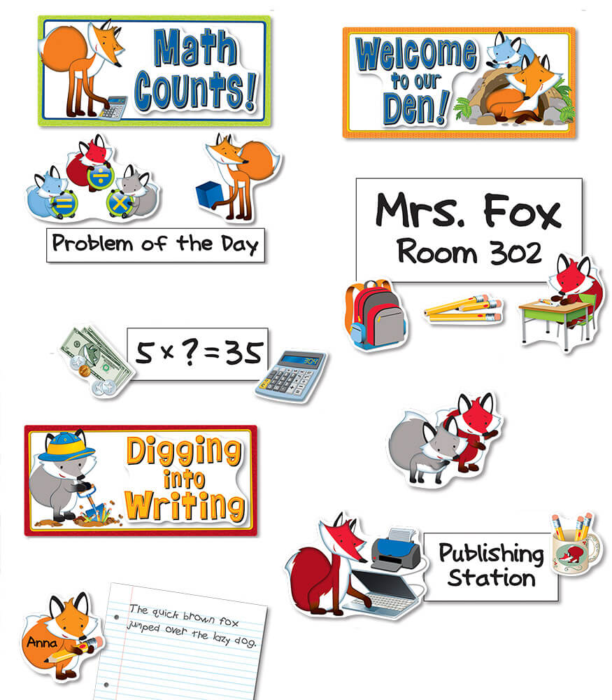 Playful Foxes Curriculum Signs Bulletin Board Set Product Image