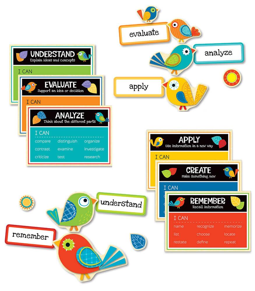 Boho Birds Higher-Order Thinking Skills Bulletin Board Set Product Image