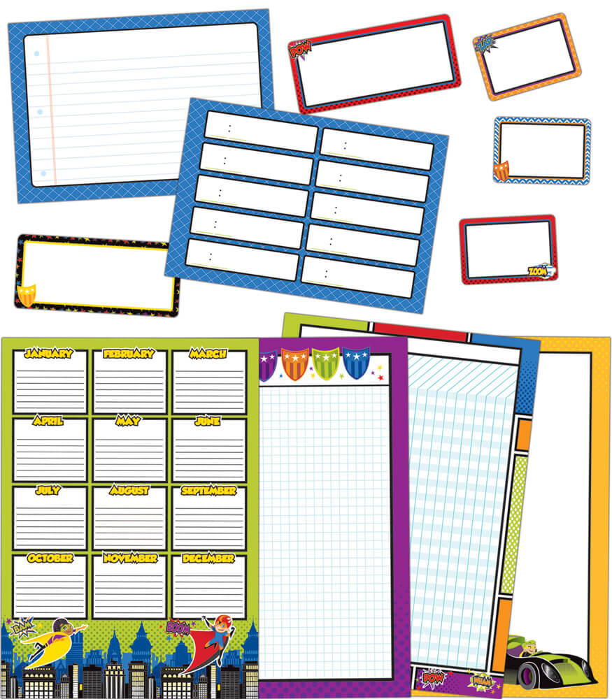 Super Power Classroom Organizers Bulletin Board Set Product Image