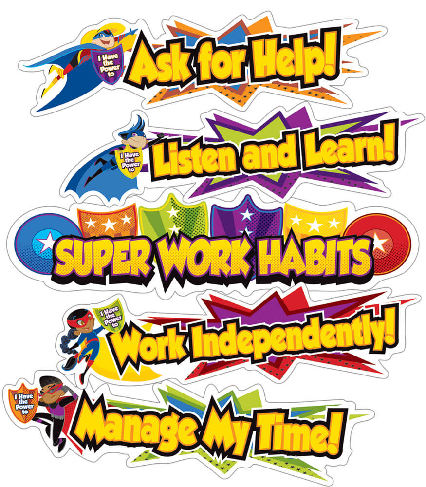 Super Power Super Work Habits Mini Bulletin Board Set Product Image