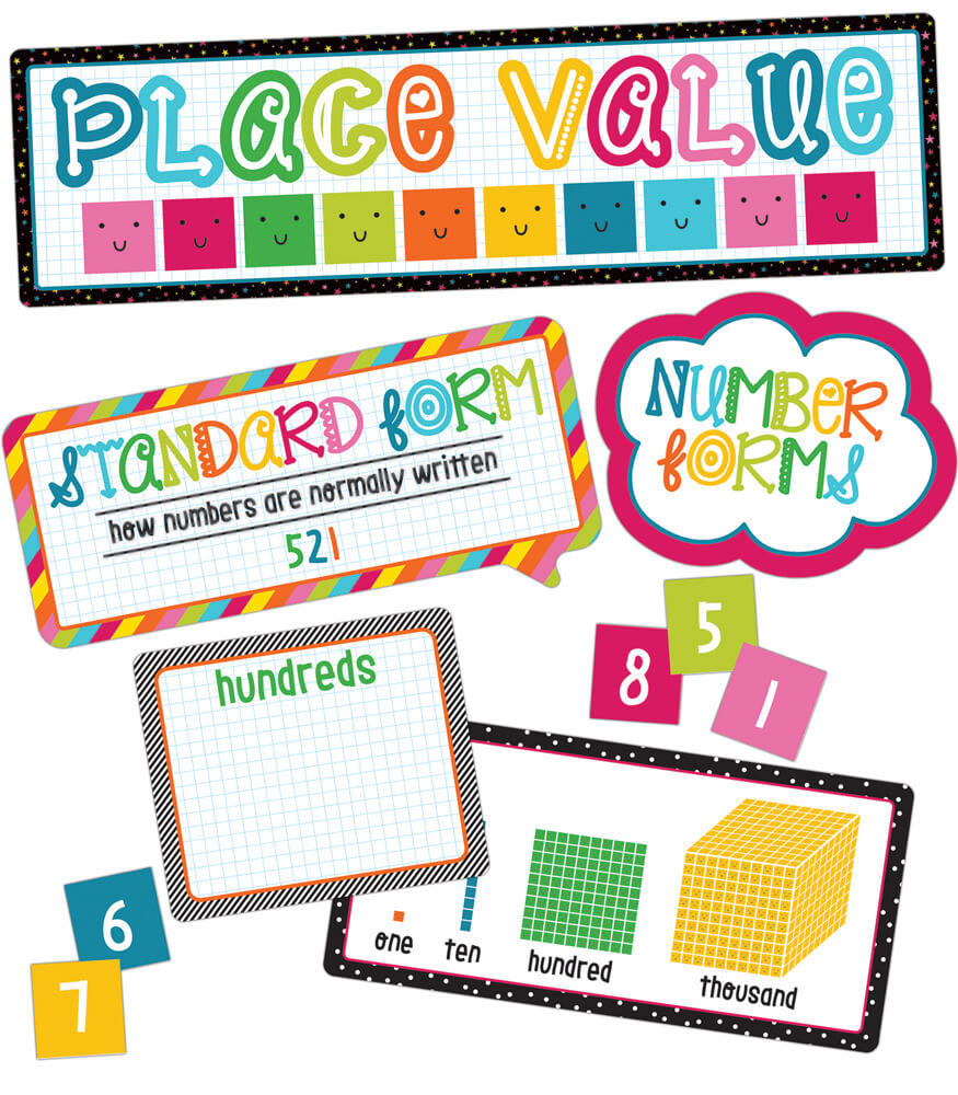 School Pop Place Value Mini Bulletin Board Set Product Image