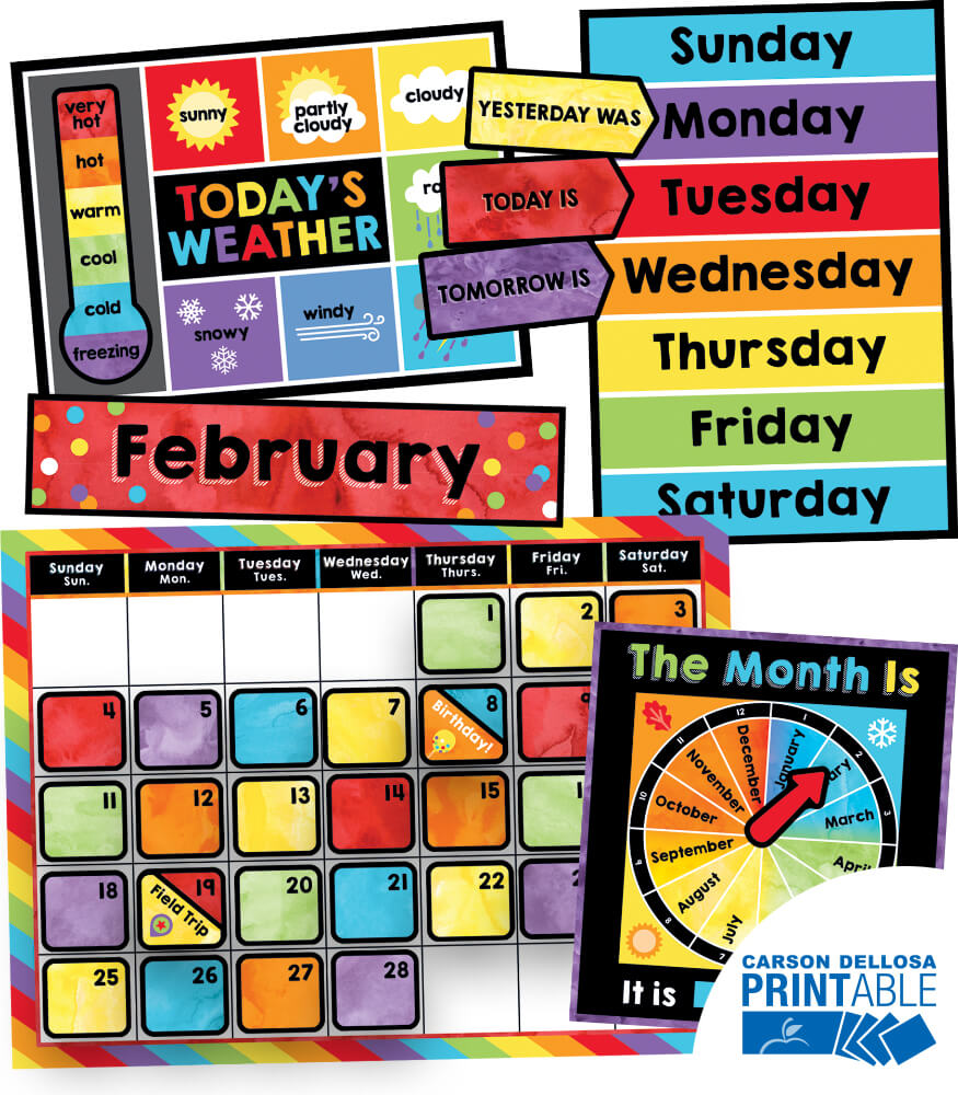 Celebrate Learning Calendar Printable Bulletin Board Set Product Image