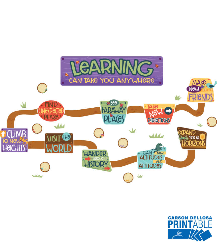 Learning Can Take You Anywhere Printable Bulletin Board Set Product Image