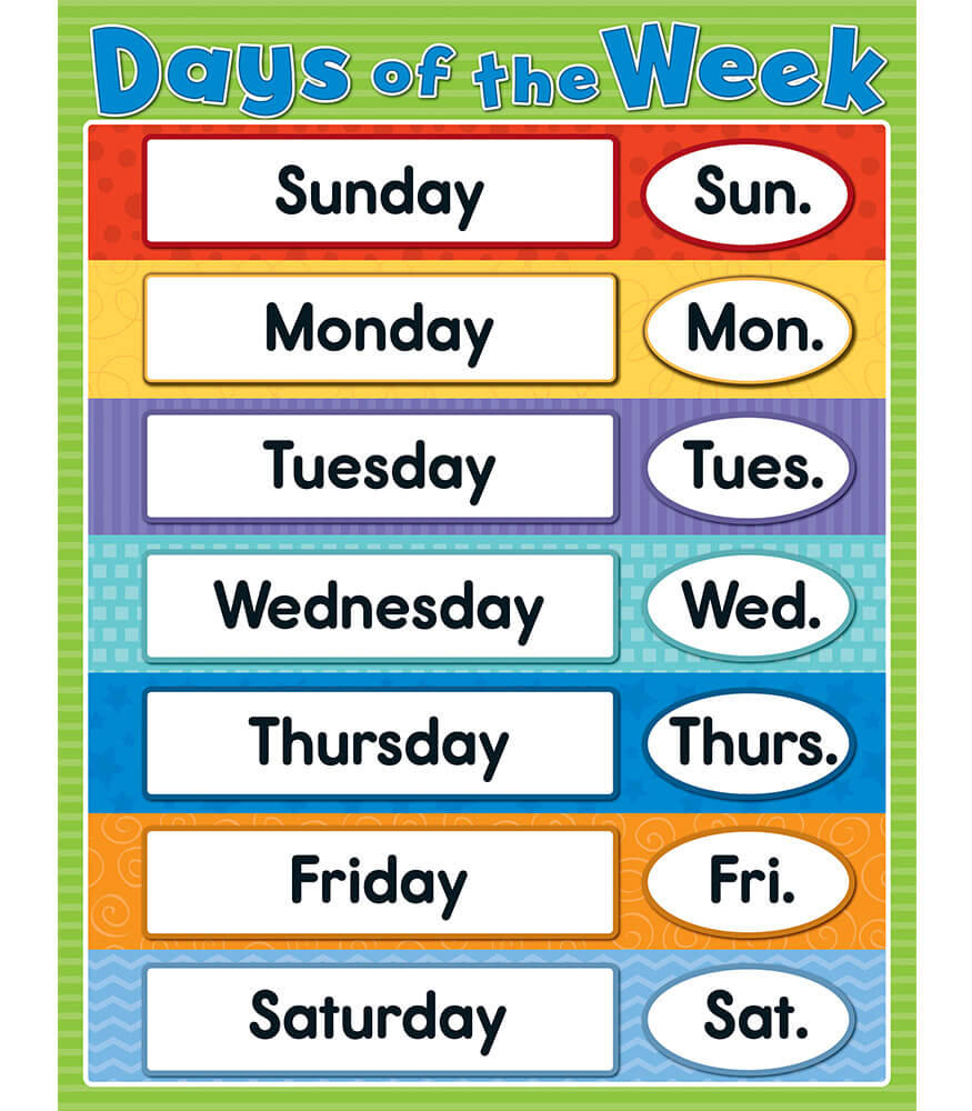 Days Of The Week Chart  Days Of The Week Calendar Template