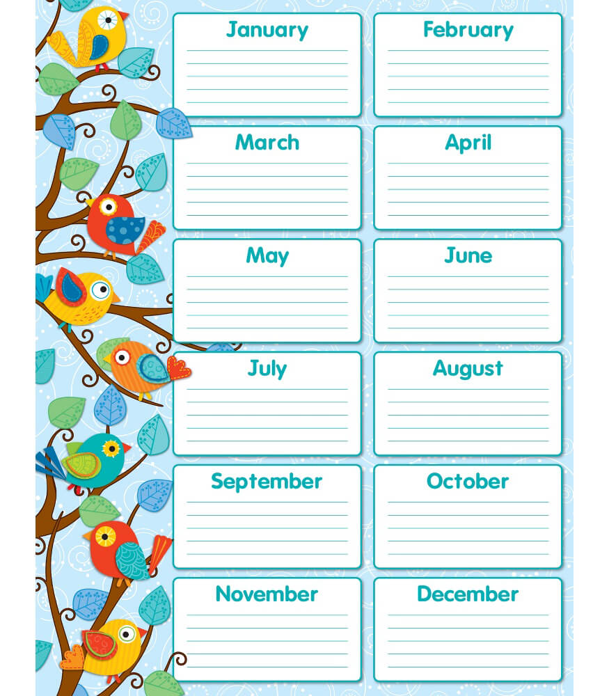 Boho Birds Birthday Chart Product Image