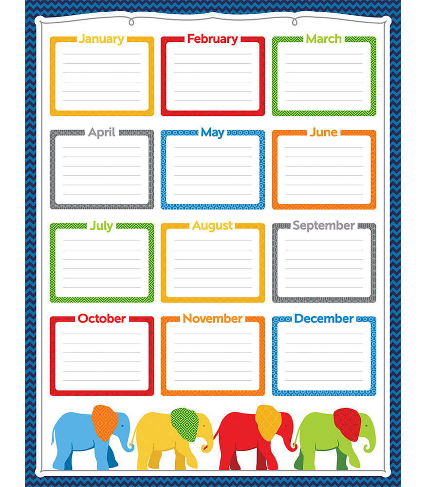 Parade of Elephants Birthday Chart Product Image