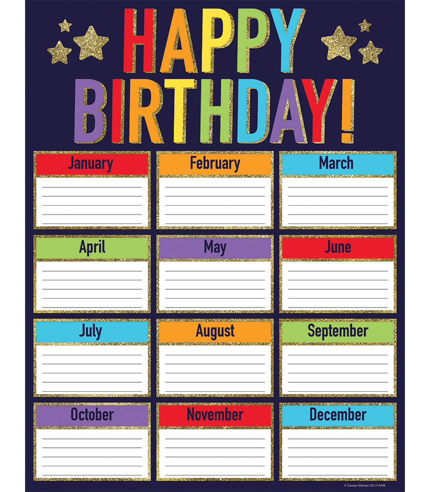 Sparkle + Shine Glitter Birthday Chart Product Image