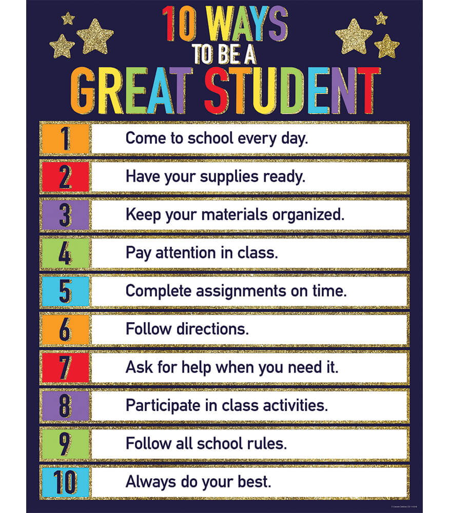 Glitter 10 Ways to Be a Great Student Chart Product Image