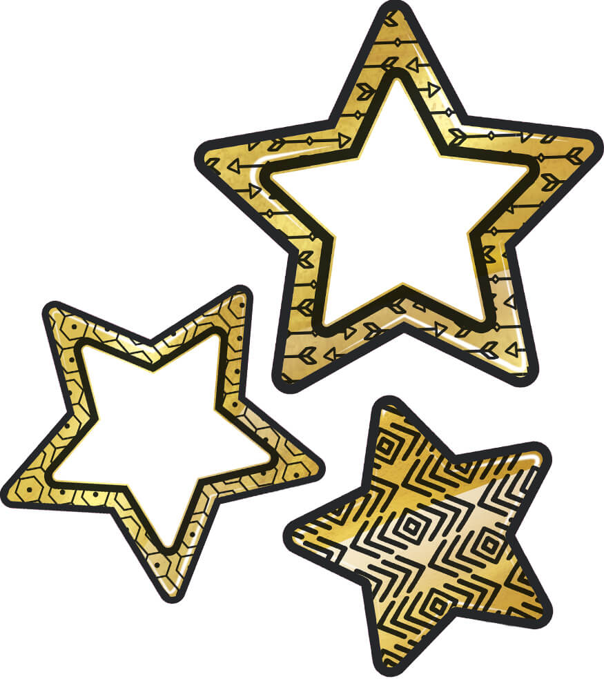 black and gold stars cut outs