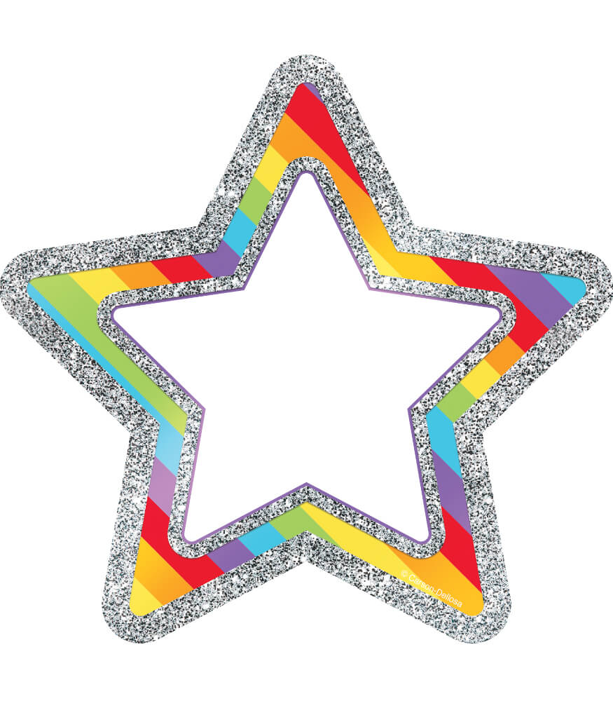 Rainbow Glitter Stars Cut-Outs