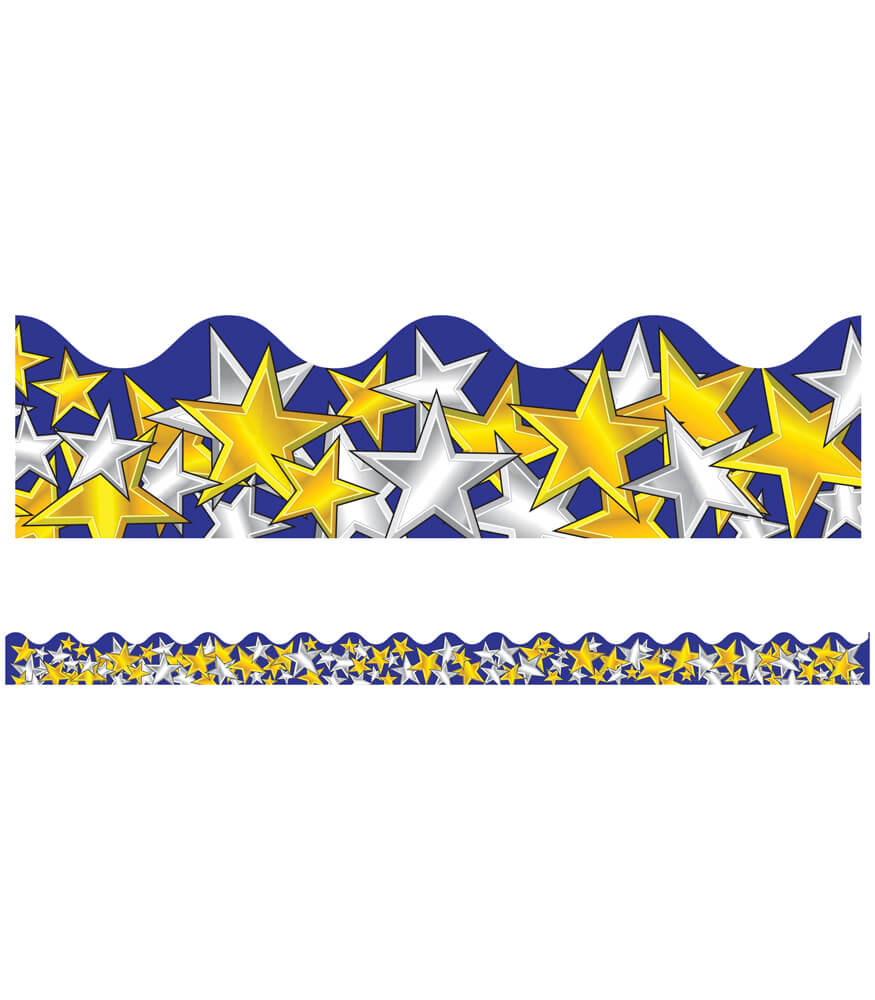 Gold and Silver Stars Scalloped Borders Product Image